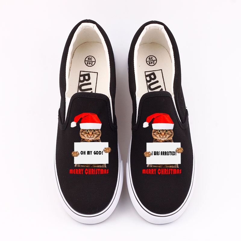 Funny Print Christmas Cat Canvas Loafer Shoes Women Flat Slip On Santa Claus Cartoon Lazy Shoes Merry Christmas Couples Gifts christmas santa claus gift print plus size skirt page 3