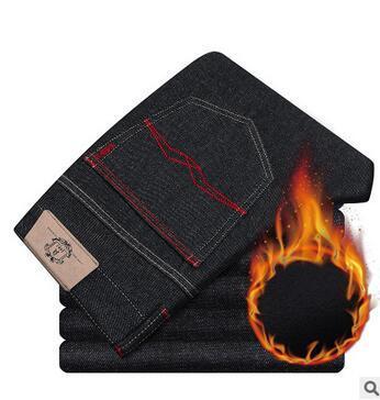Los hombres de Moda Cómoda elasticidad pantalones vaqueros calientes de los hombres de alta calidad Slim Fit jeans Invierno