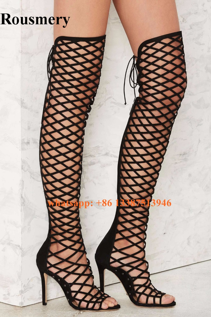 New Fashion Women Open Toe Black Suede Strappy Over Knee Gladiator Boots Cut-out Cage Design Back Zipper-up High Heel Boots