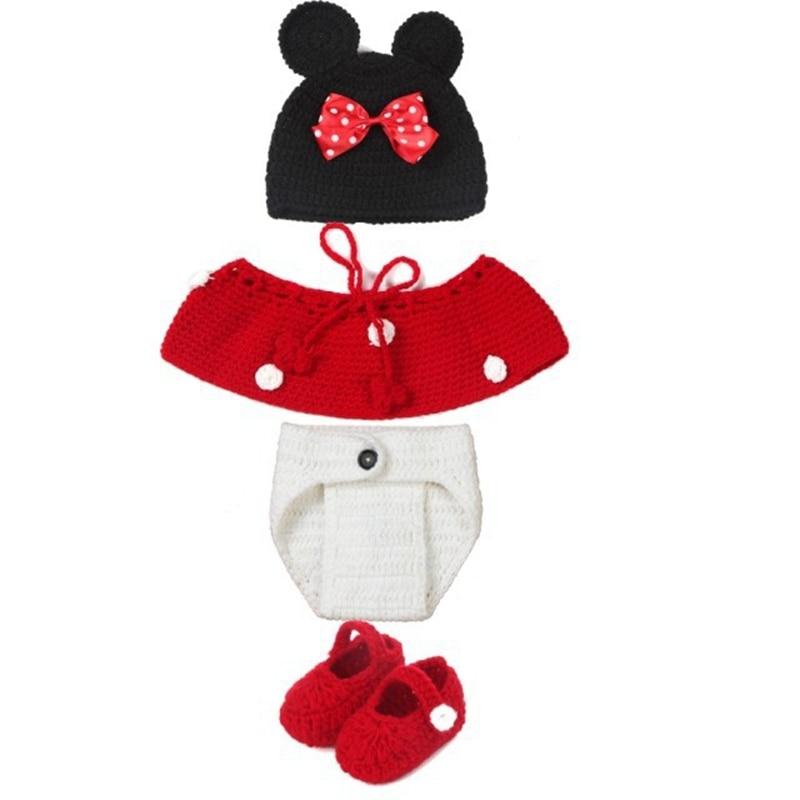 Cute Minnie Handmade Crochet Baby Hats For Girls Photo Props Gorros ...