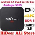 2016 Nueva S905 MX Pro Android TV Box Amlogic Quad Core Android5.1 DDR3 1G HDMI 2.0 WIFI 4 K 1080i/p Kodi 16.0 Completo cargado complementos