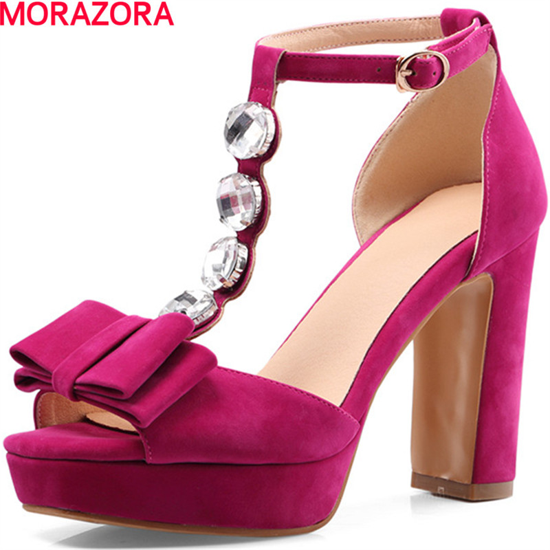 MORAZORA large size 34-46 summer sweet rhinestone women sandals thick high heels open toe solid ankle strap party shoes woman
