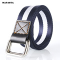 Men Belt double loop buckle canvas belt unisex casual young students nylon belt belt length 115cm