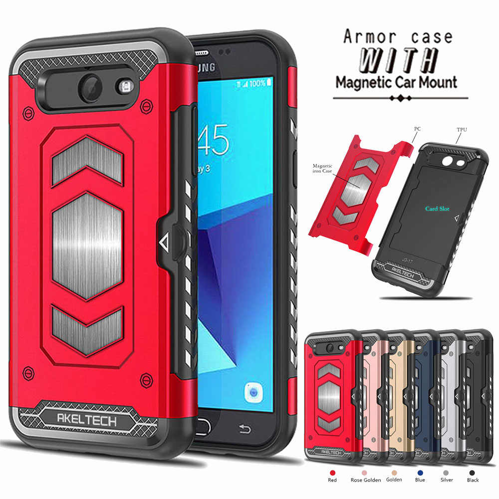 6bb227284 Magnetic Brave Armor Case Card Slot Holder Car Mount Cover For Samsung  Galaxy J7 V J727V