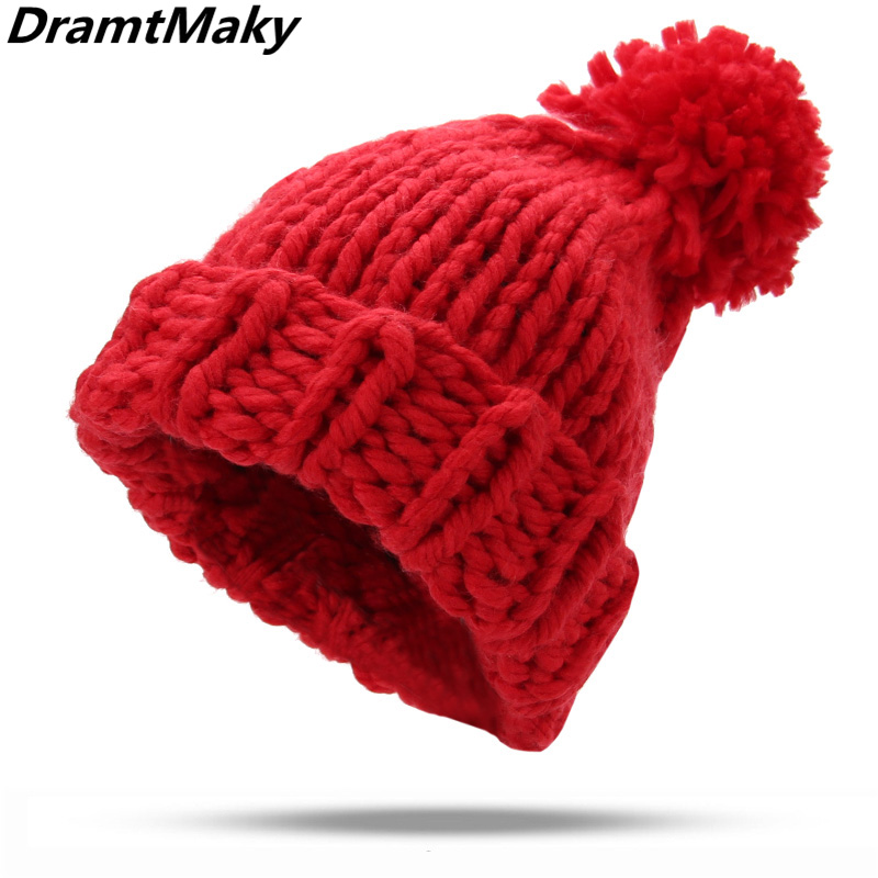 4c8ee8b92 Winter Brand Female Ball Cap Pom Poms Winter Hat For Women Girl 'S Hat  Knitted Cap Hat Thick line Women'S Skullies Beanies