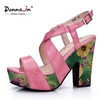 Donna In 2016 New Styles Pink Leather Sandals Platform High Heels Sandals