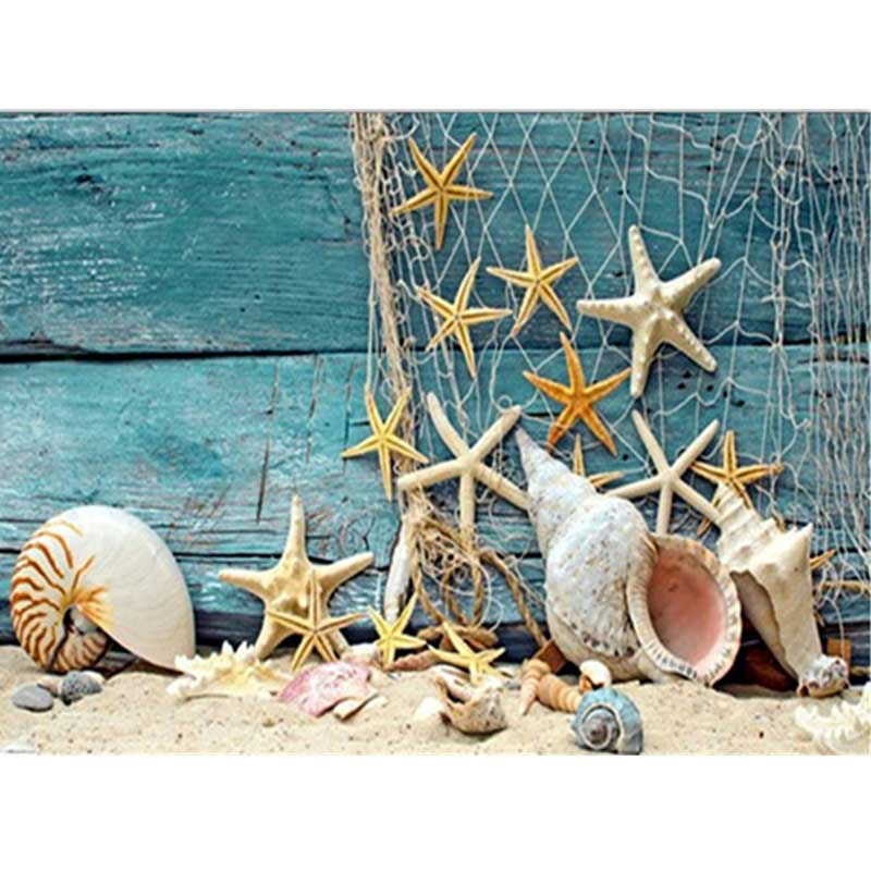FineTime Diy Diamond Embroidered Beach Shell Sea Star Conch Landscape partial Diamond Painting Mosaic Home Decor Picture in Diamond Painting Cross Stitch from Home Garden