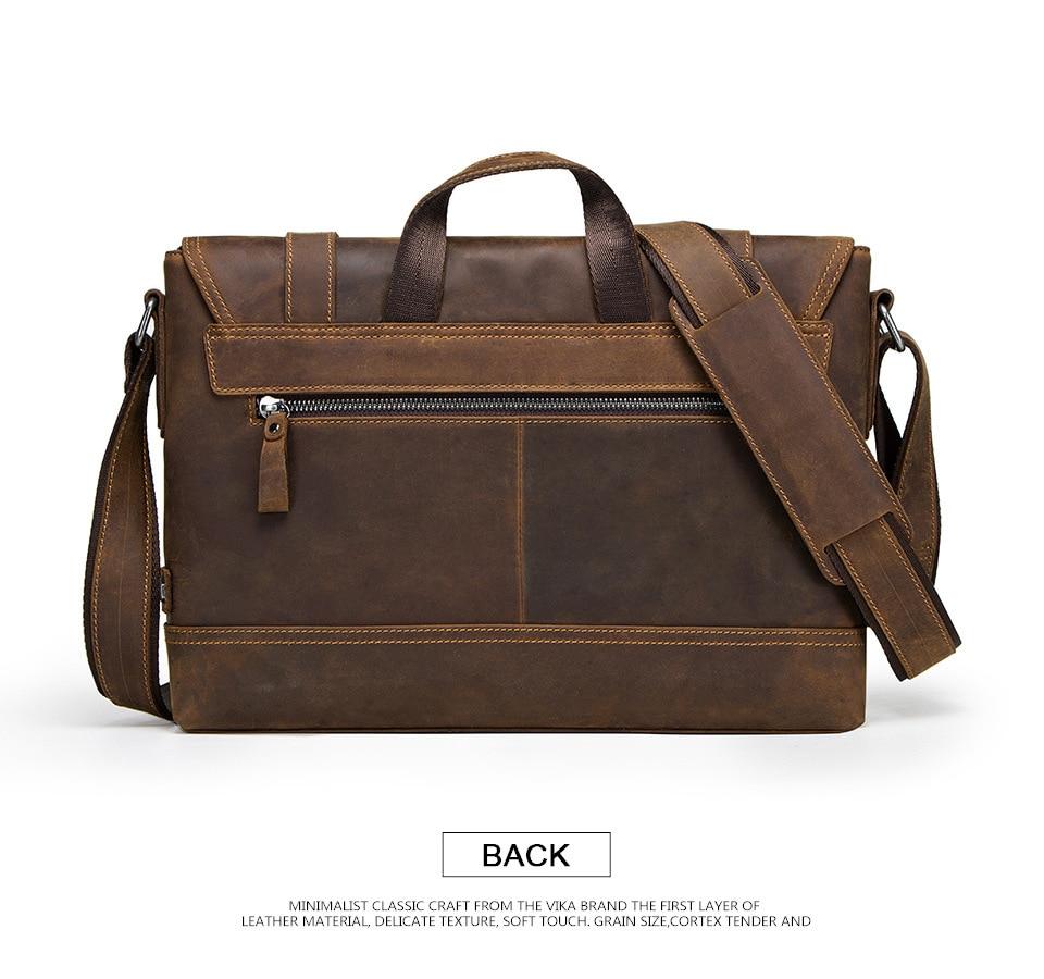 HTB11E4yahrvK1RjSszeq6yObFXal 100% Genuine Leather Briefcase Men Vintage Real Crazy Horse Leather Messenger Shoulder Business Laptop Bag Case Office Handbag