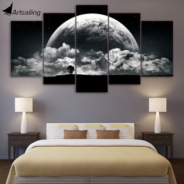 Artsailing Hd Canvas Paintings Printed 5 Pieces Black White Earth Wall Art Pictures For Living Room