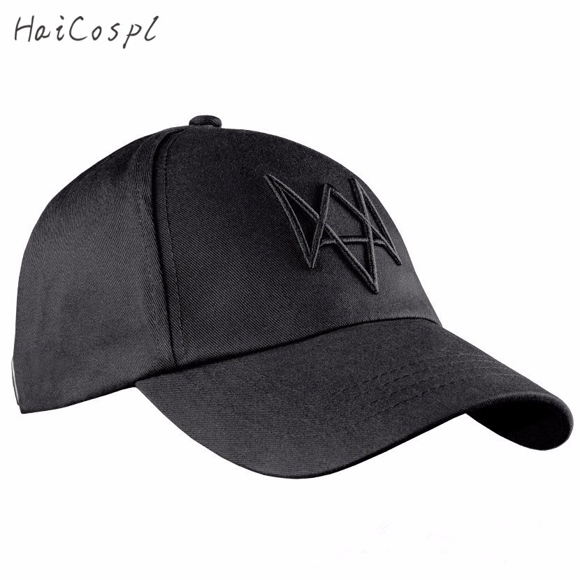 Watch Dogs Hat Cosplay For Man  Video Games COS Aiden Pearce Cap Baseball Cap High Quality Fashion Black Sun Hat