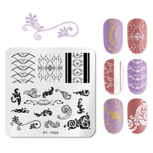 PICT YOU Square Stripe Stamping Nail Plates Flower Plants Pattern Image Plate Stainless Steel Stamp Stencils Art