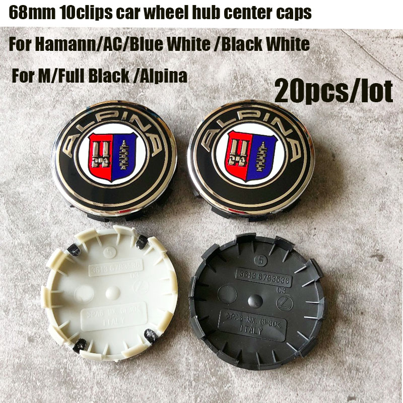 20pcs /lot 10clips car wheel hub logo cap For bmw auto wheel center emblem cover 68mm label abs badge 10pins cat styling-in Wheel Center Caps from Automobiles & Motorcycles