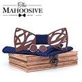 Деревянный лук галстук носовой платок запонки набор для мужчин подарок деревянный галстук бабочка Bowknots Свадебная вечеринка галстуки карман - фото