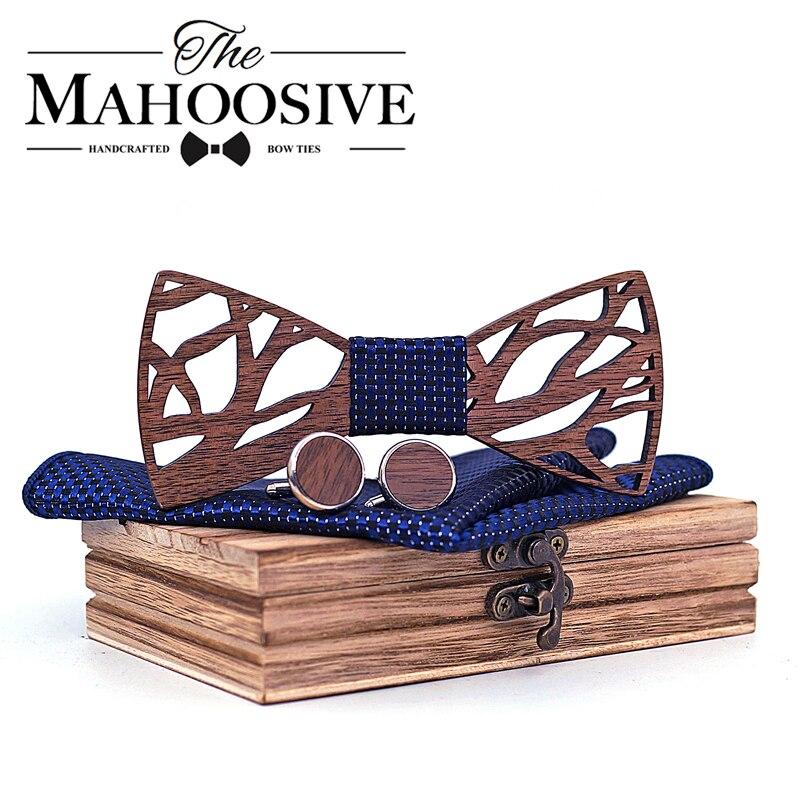 Holz fliege Taschentuch Manschettenknöpfe Set für Männer Geschenk Holz Bogen Krawatte Bowknots für Hochzeit Krawatten Tasche Platz Hanky krawatte