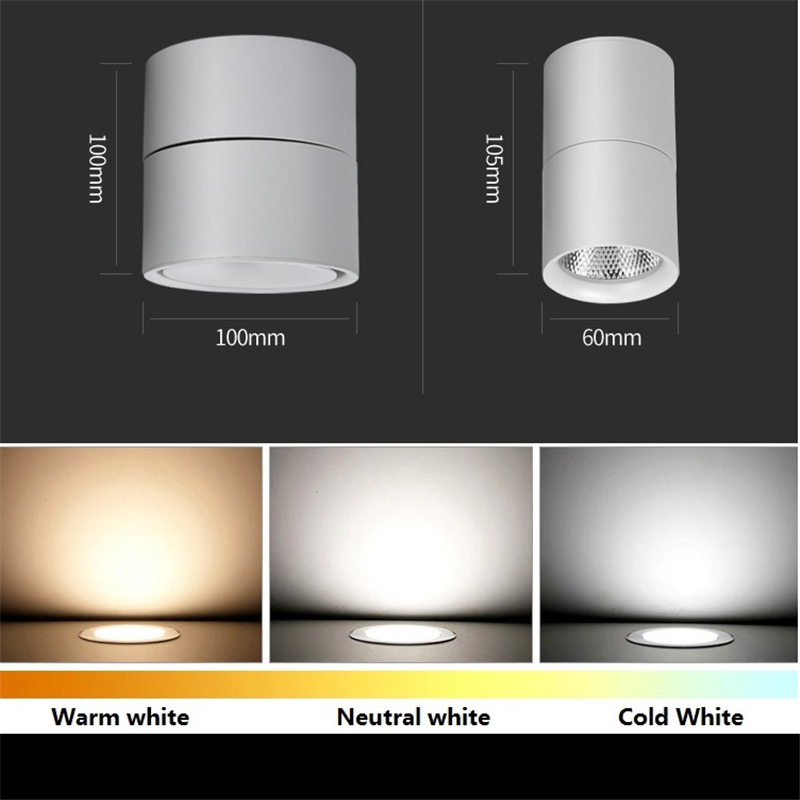 85-265Vac input 3W/5W/7W/10W12W Dimmable LED surface mounted ceiling lamp ,Foldable and  rotatable COB corridor spot wall light