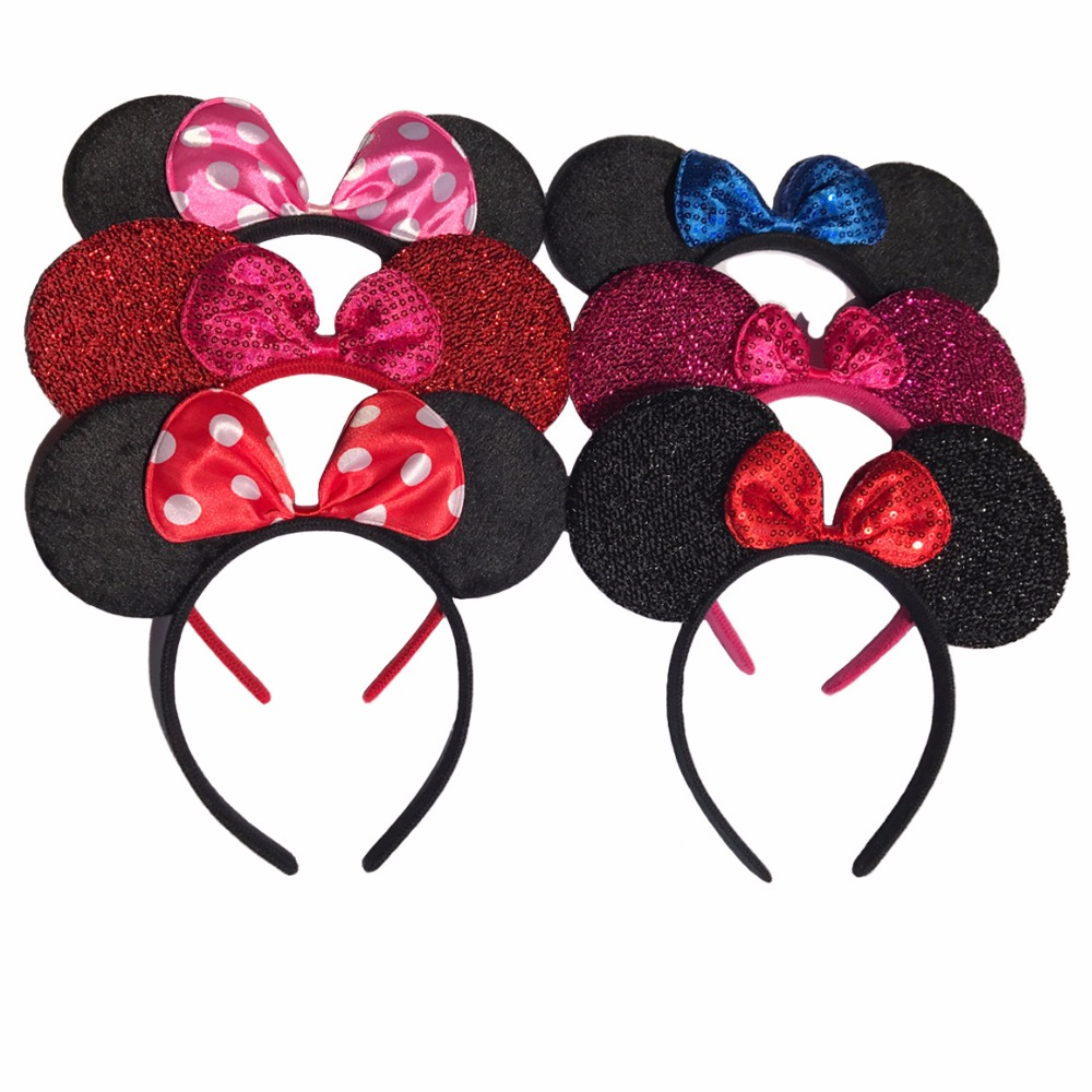 1pcs Hair Accessories  Minnie/Mickey Ears Solid Black & Colorful Bows Headband for Boys/Girls Birthday Party Celebrations 12pcs hair accessories mickey minnie mouse ears solid black sequins headbands headwear for boy girl birthday party celebration