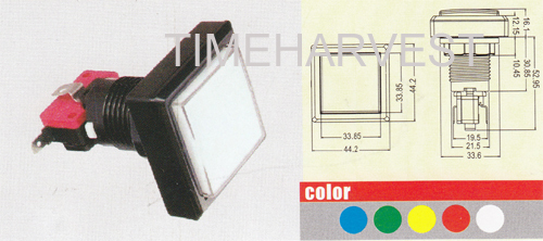 44.2 x 44.2 square button with switch and led lamp/slot machine button/casino pushbutton ...