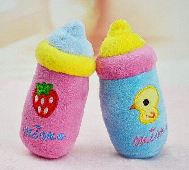 Kawaii squeaky peluche cane giocattolo bottiglia di latte a forma di chew squeak