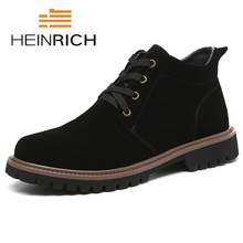 HEINRICH Spring/Autumn Men Boots British Style Shoes New Fashion Black Lace-Up Comfortable Popular Ankle Chaussures
