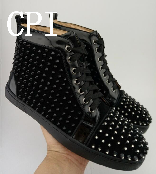 Brand Lace Up Student Shoes Rivets Embellished Men Casual Shoes Outdoor Leather High Top Shoes Trainer Shoes Cool Flats Sneaker top classic hot sale men shoes casual leather flats shoes men summer cool