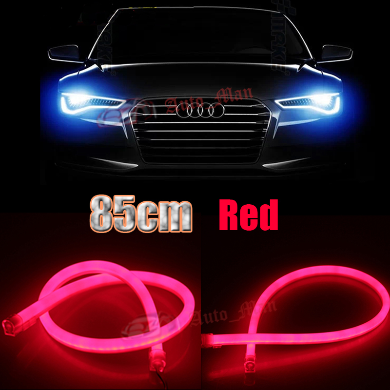 2x 85cm Red Daytime Running Lights Tube Style Flexible Led