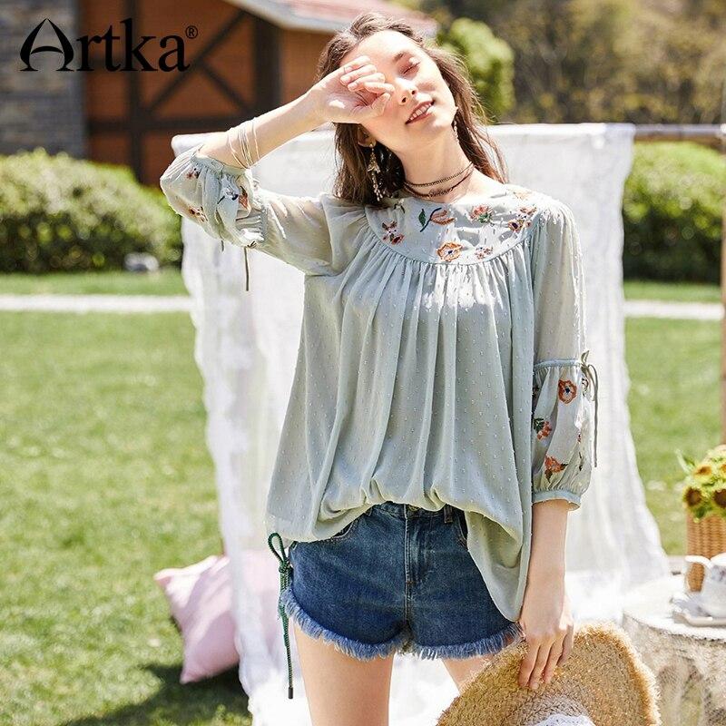 ARTKA 2018 New Summer Women Floral Embroidery Loose All-match Lantern Sleeve   Blouse     Shirt   SA10986X