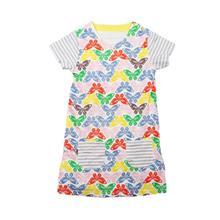 Фотография 2018 O-Neck Baby Girls Princess Short Sleeve Dress Short Sleeved Princess Dress For Girls Cotton Summer NO30 Drop Shipping