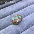 Delicate Natural Fire Opal Ring For Party 925 Silver Natural Opal Ring With Pave Setting AAAA CZ