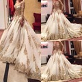 Gold Lace Wedding Ball Gown Organza Beaded Sequins Bridal Gown Long SLeeves Muslim Two Pieces Plus Size Wedding Dresses Z668