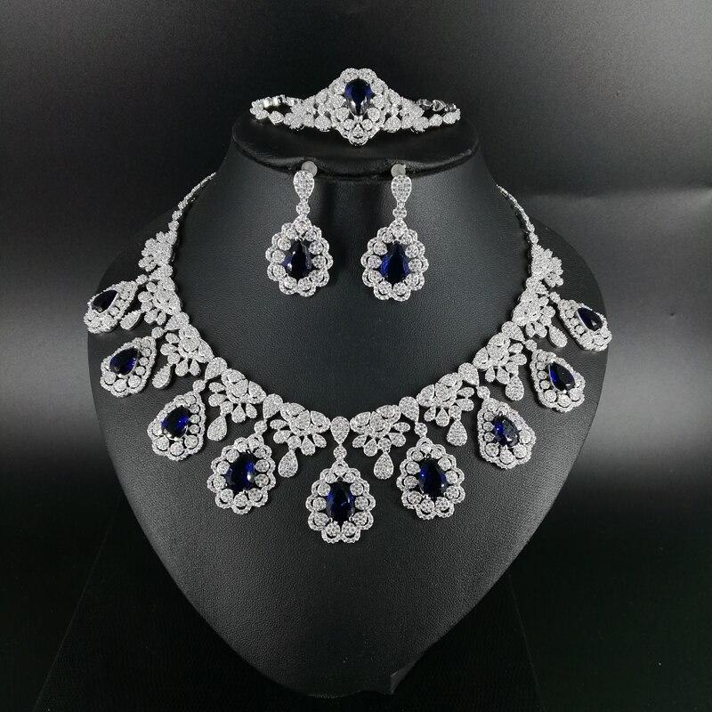 2019 nouvelle mode rétro bleu CZ zircon collier boucle d'oreille bracelet anneau de mariage mariée banquet dîner dressing bijoux ensemble-in Parures de bijoux from Bijoux et Accessoires    1