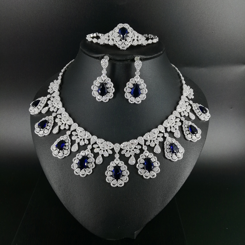 2019 nueva moda retro azul CZ circón collar pendiente pulsera anillo Boda nupcial banquete cena conjunto de joyas-in Conjuntos de joyería from Joyería y accesorios    1