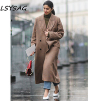 LSYSAG Women Clothing Winter Long Wool Coat 2018 Brown Plaid Thicken Keep Warm Over Size Elegance Button Pocket Top checkerboard