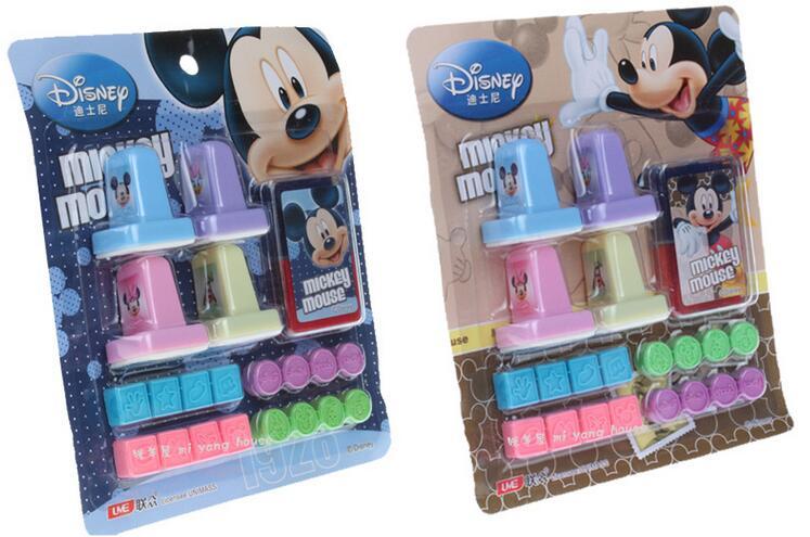 20pcs/set Mickey Kids Cartoon Stamp Children Custom Plastic Rubber Self Inking Stampers Toys