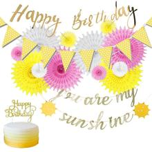 You are my sunshine Birthday Decoration Set Happy Gold Glitter Banner Sun Bunting Pink Yellow