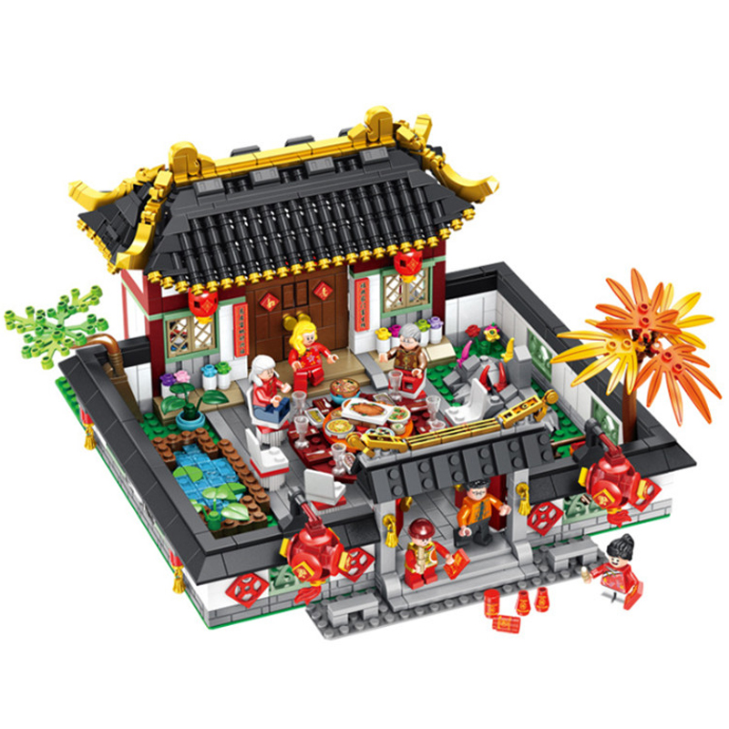 DIY Chinese Style New Year Eve Dinner Building Blocks Set Kits Bricks Educational Toys Compatible with Legoingly for Kids GiftsDIY Chinese Style New Year Eve Dinner Building Blocks Set Kits Bricks Educational Toys Compatible with Legoingly for Kids Gifts