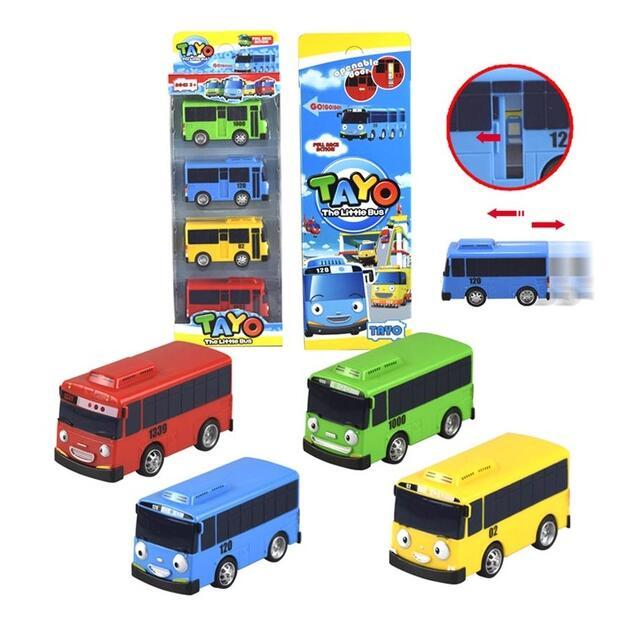 4pcs1lot korean cartoon garage tayo bus the little bus mini toys action figure for