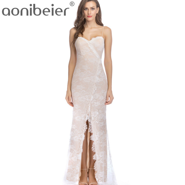 Aonibeier Sexy Backless Split Bodycon Dress Summer Formal Cream Lace