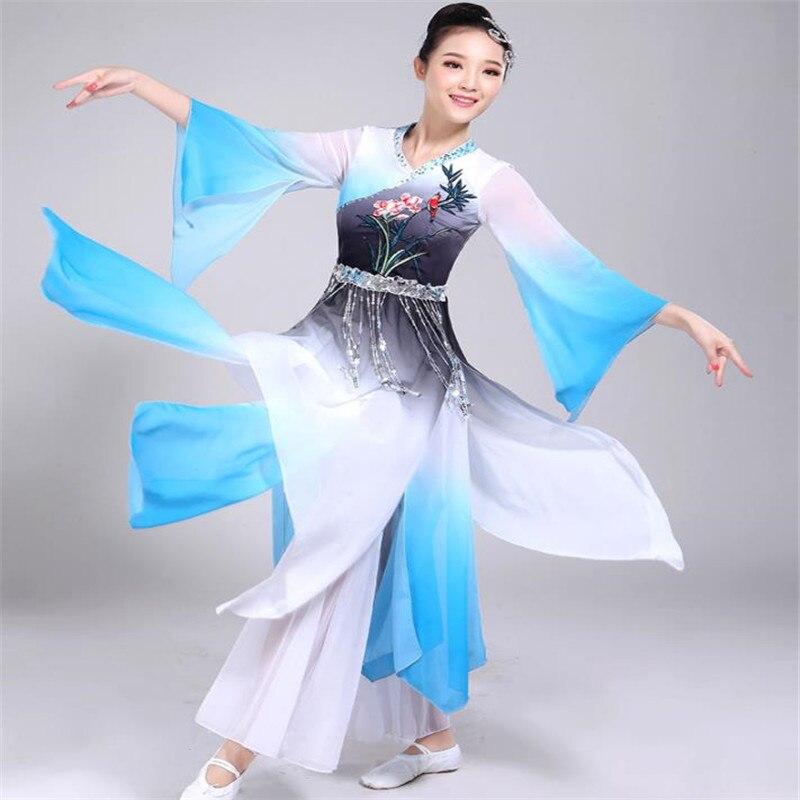 Festival Tenue Classique costumes de danse Nouvelle Yangko Vêtements Adulte Carré De Danse Parapluie ventilateur de danse Vêtements De Performance De Danse