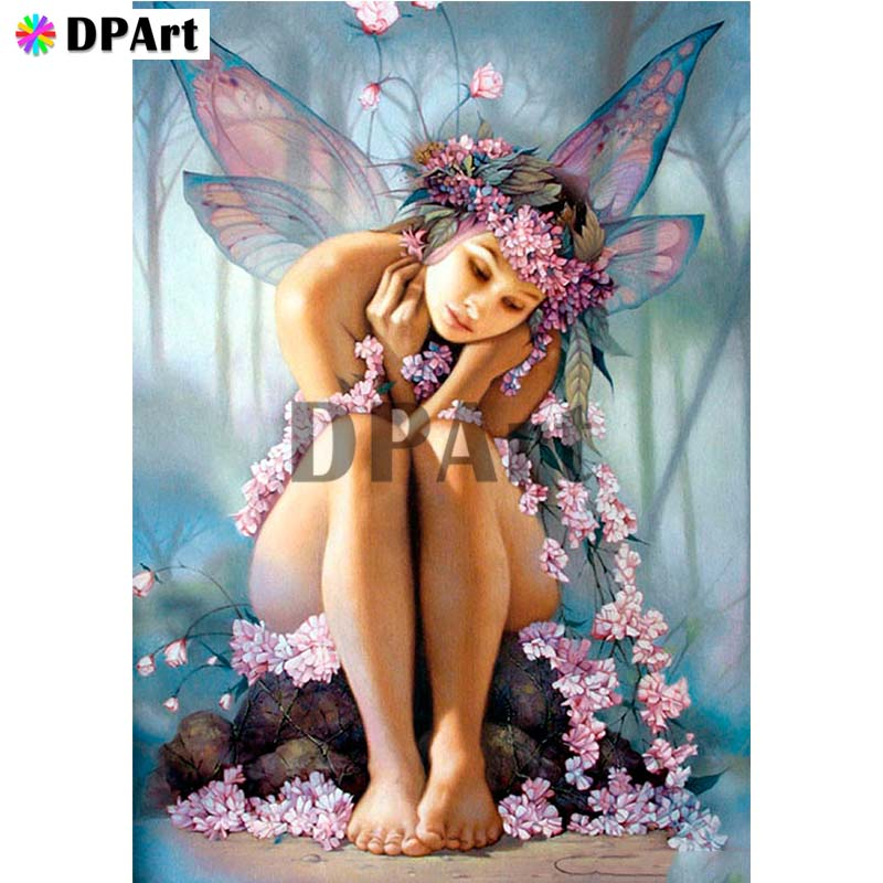 Diamond Painting 5D Full Square/Round Drill Butterfly Fairy Girl Daimond Embroidery Painting Cross Stitch Mosaic Picture M982(China)