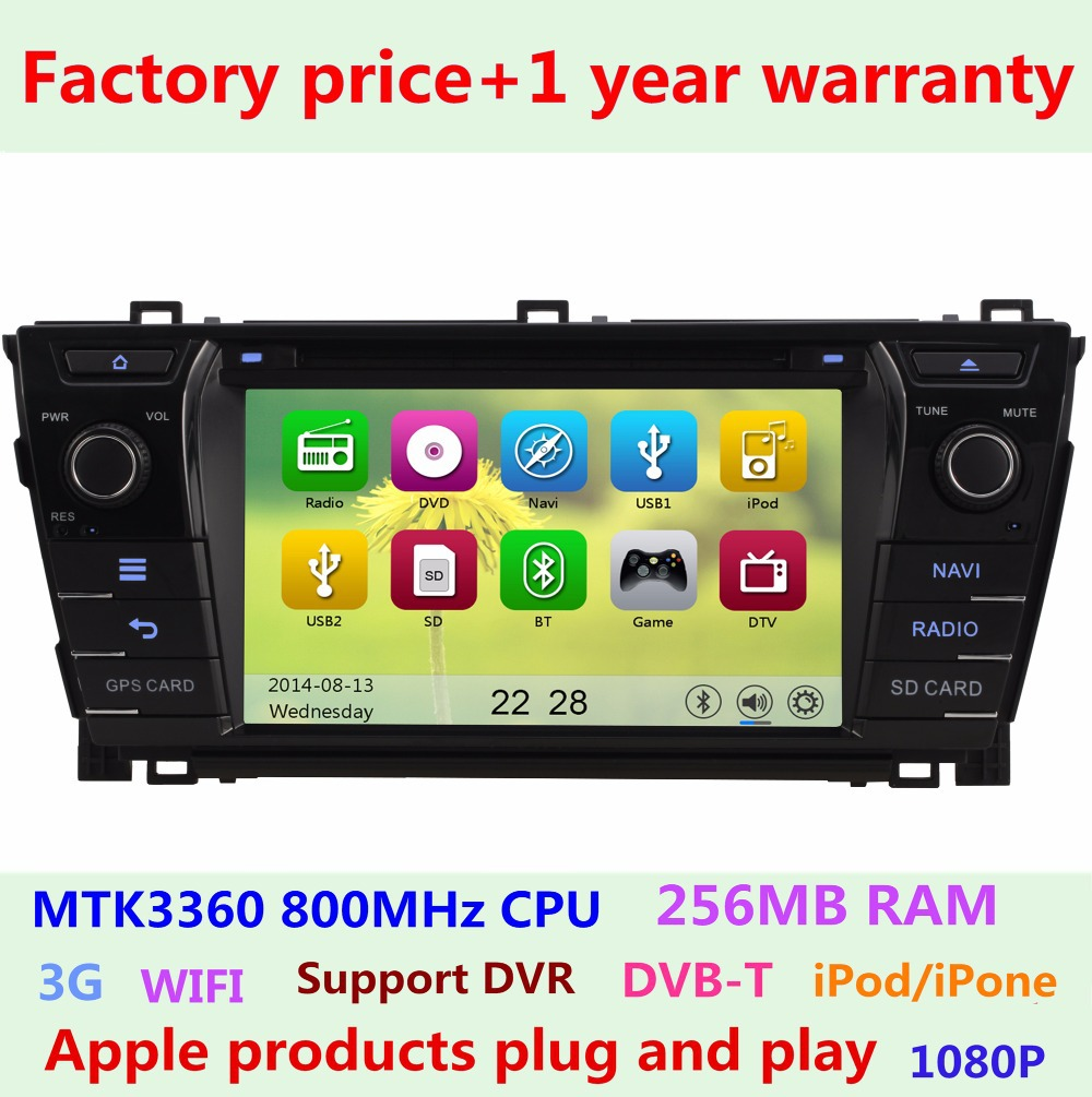 Hd touch screen car dvd player for toyota corolla 2013 2014 2015 bluetooth iphone5 1080p usb
