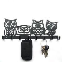 Four owl iron towel hanging hook key creative black brown wall decoration