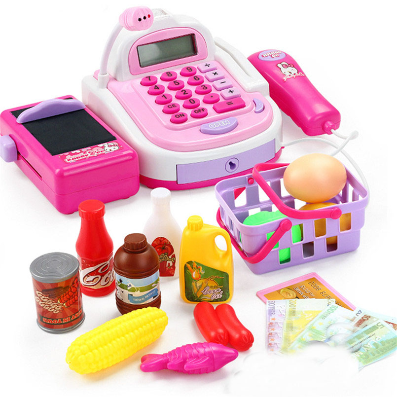 46pcs Simulation Supermarket Mini Cash Register Toy Checkout Counter Role Girls Games Cashier Pretend Play House Toys For Kids