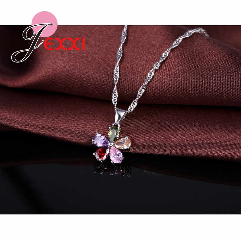 925 Sterling Silver Colorful Cubic Zircon Pendant Necklace Earrings Set For Women Fashion Flower Bridal Wedding Jewelry