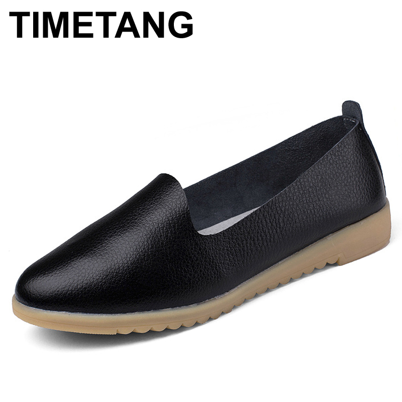 TIMETANG Genuine Leather Oxford Shoes For Women Round Toe Lace-Up Casual Shoes Spring And Autumn Flat With Loafers Shoes S018 front lace up casual ankle boots autumn vintage brown new booties flat genuine leather suede shoes round toe fall female fashion