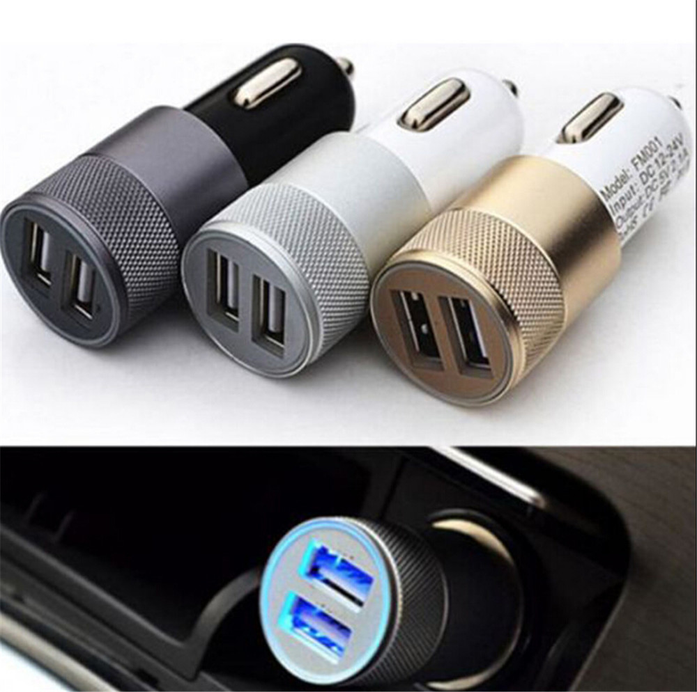 1 Pc Dual USB Cigarette Lighter Socket Car Charger Double Twin 2 Port 12V 3.1 AMP 3 Colors Mobile Phone Chargers