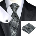 2016 Fashion Gray and Black Paisley Neckties Hanky Cufflinks 100%Silk Tie For Men gravata Formal Business Wedding Party C-209