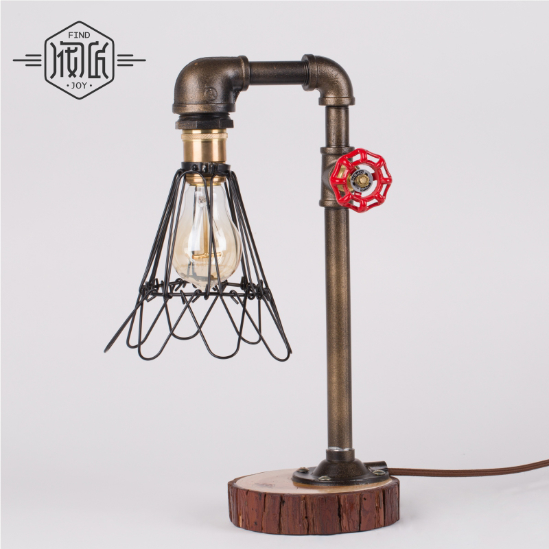 American Vintage Edsion Lamp Punk Bar Pipe Office Light Art Cafe Water Pipe Light E27 Desk Light Color Bronze-FJ-DT2S-027A0