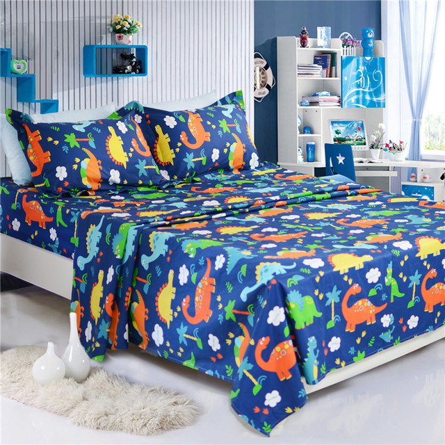 Fadfay 100% Cotton Dinosaur Sheets Set Style 4pcs Bedding Set Kids Boys Bed  Linen Bed Sheet Queen Fitted Sheet 2 Pillowcase Sets