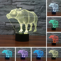 2016 Novelty 3D Cow Shape 7 Colors Changing LED Night Light With USB Colorful Night Lamp