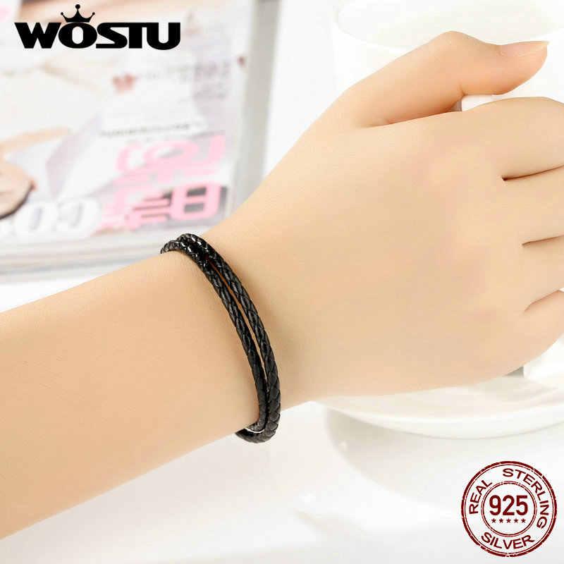 100% 925 srebro i dwa koła prawdziwa czarna skórzana linka łańcuch Charm Fit bransoletka dla kobiet mężczyzn biżuterii XCHS911